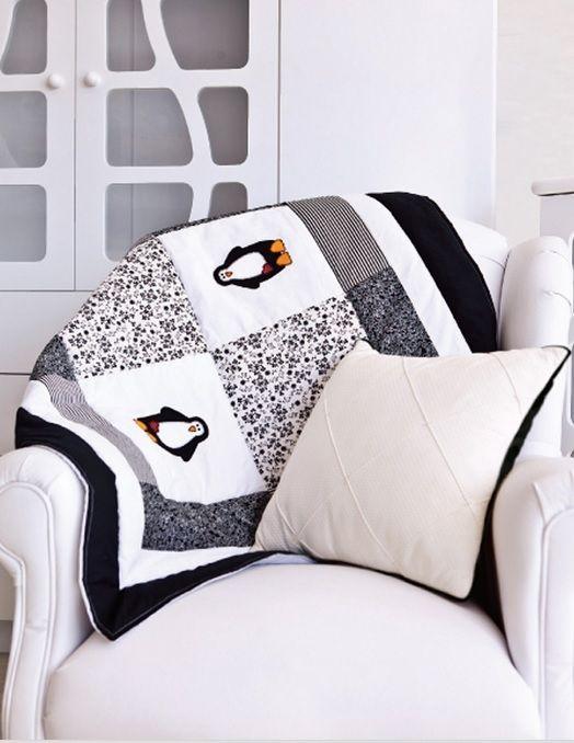 Manta de bebé en la colcha de arte con apliques penguin (1) (524x678, 171Kb)