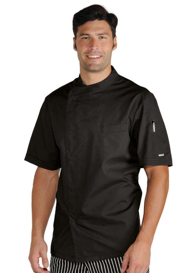 Veste Chef Cuisinier Noir Tissu Ultra Léger - Vestes de Cuisine/Veste de cuisine manches courtes - mylookpro.com