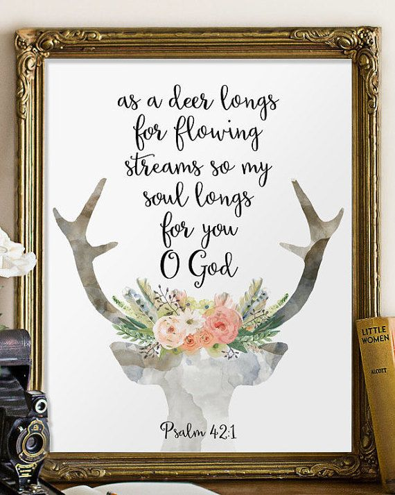 Psalm 42:1 Bible verse wall art decor by TwoBrushesDesigns on Etsy