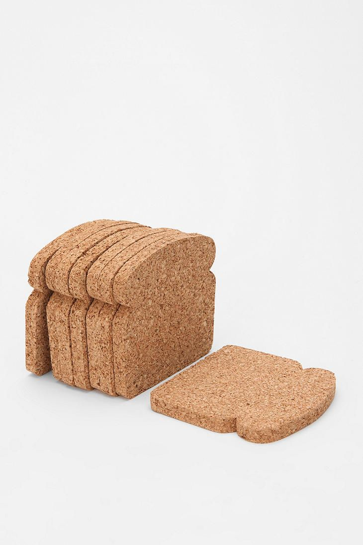 $14 Bread-shaped cork coasters: Urbanoutfitters, Crafts Ideas, Coasters Sets, Toast Coasters, Hostess Gifts, Products, Corks Coasters, Urban Outfitters Decor, Breads Coasters