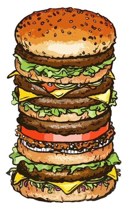 Hamburger, Grote, Grootte, Lunch, Voedsel, Snelle