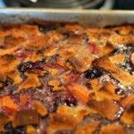 Blueberry and Peach Bread Pudding