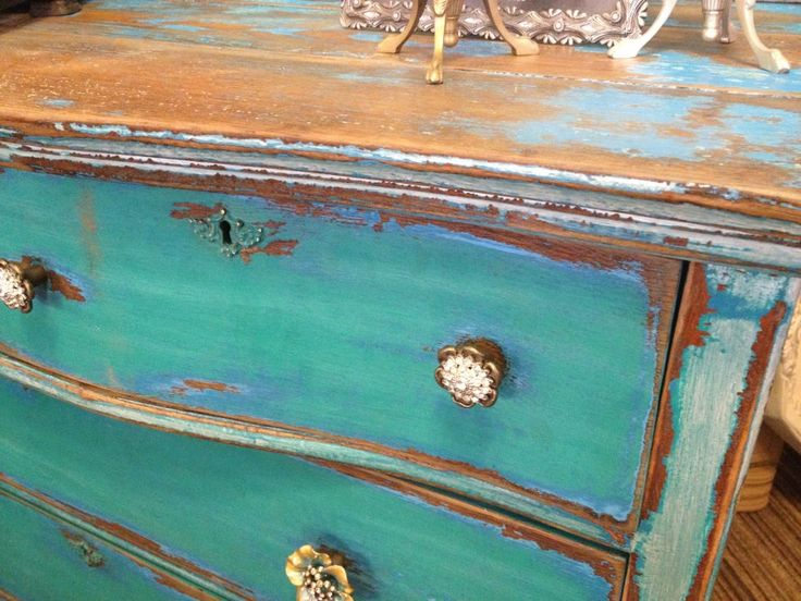 Close up of dresser. Hoity-Toity Peacock
