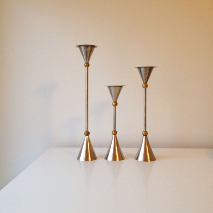 Three sculptural steel and brass candelstick holders, mid century modern candlesticks. Patinated steel and brass. by ReOSL on Etsy