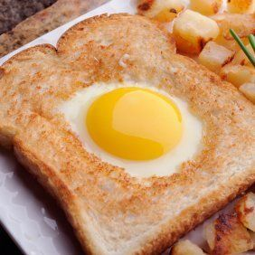 """This page contains """"egg in the hole"""" recipes. This is a fun way to make eggs with pan toasted bread."""