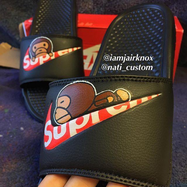 Supreme x baby milo slides  #angelusdirect #angeluspaint @angelusdirect @angelusshoepolish #sneakerfreaker #kicksology #kickstagram #kicksonfire #kicks #sneaker #sneakerheads #sneakerhead #sneakersaddict #customflipflops #supreme #babymilo #bape #nike #customshoes #sneakers