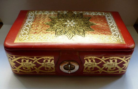 Vintage leather jewelry storage box by bluestyle on Etsy