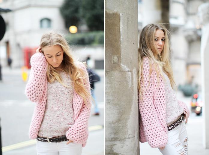 Stylish bloger 5inchandup wearing our crochet cardigan