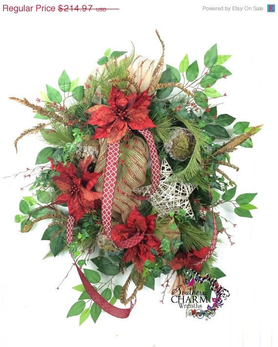 ON SALE Christmas Door Wreath Rustic by SouthernCharmWreaths
