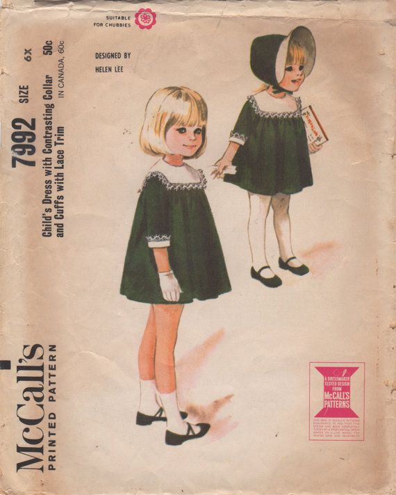 1960s McCalls 7992 Designer Helen Lee Girls Dress Pattern Contrast Collar Cuff Toddler Vintage Sewing Size 6X Breast 25 OR Size 6 or Size 3