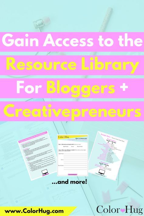 If you're a blogger or creativepreneur, I have created a FREE resource library chock full of worksheets, guides, checklists, cheatsheets and more just for you!  Click to sign up for access.