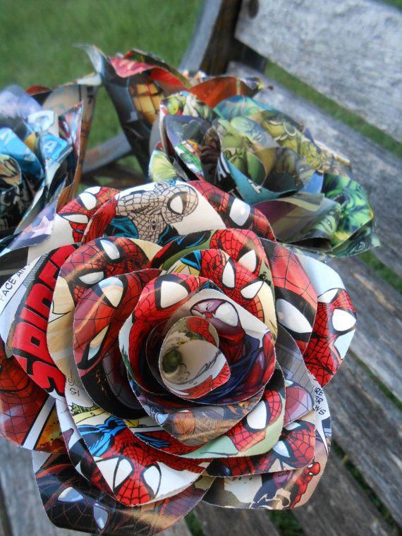 6 CUSTOM Comic Book Roses. CHOOSE Your Comic. door TreeTownPaper