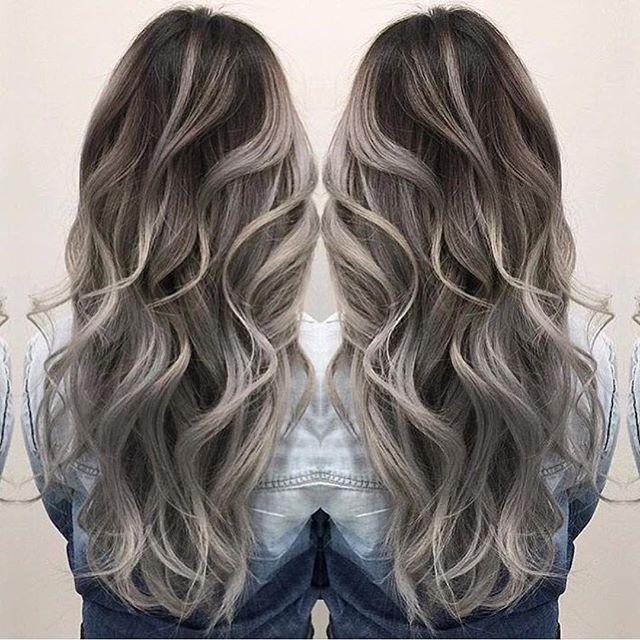 Smoky Hair Color And Beautiful Long Wavy By Janai Hartt Hotonbeauty Hairpainting