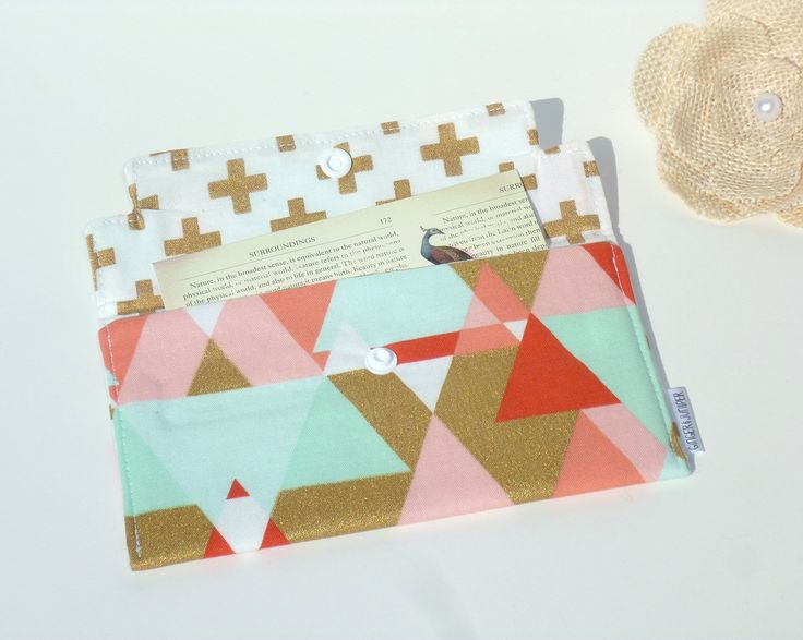Coupon Holder / Cash Wallet / Receipt Holder - GeoTriangle in Mint, Coral, Gold Swiss Cross