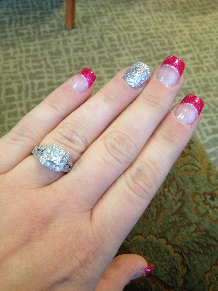Bachelorette Party Weekend. Hot Pink, Black, and Silver. Bachelorette party nails!!!!