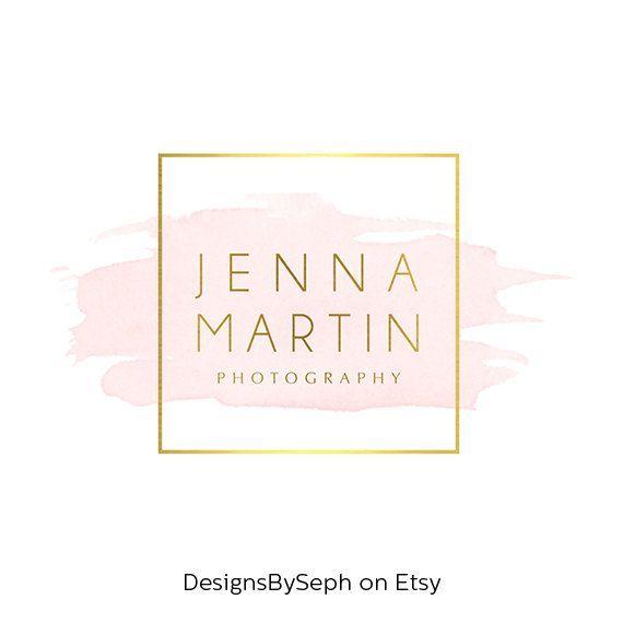 Pre-made Logo Design & Photo Watermark - Watercolor logo - Blog Header - Website Logo - Gold Logo - Square Watermark - Photography Logo 762