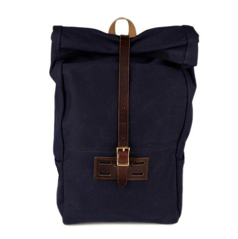 Roll Top - Navy Waxed backpack
