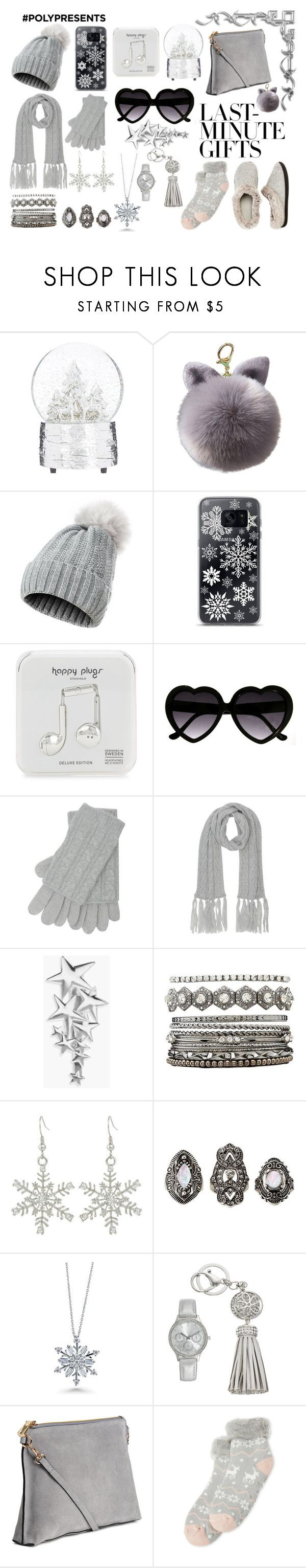 """#PolyPresents: Last-Minute Gifts"" by lioness006 ❤ liked on Polyvore featuring Samsung, Happy Plugs, M&Co, Boohoo, Charlotte Russe, BERRICLE, H&M, Capelli New York, Dearfoams and Last"