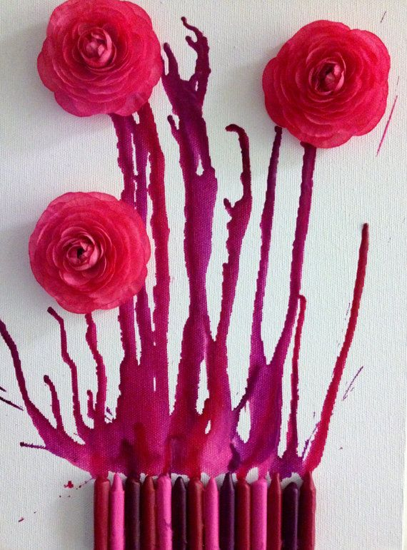 Pink Melted Crayon Art