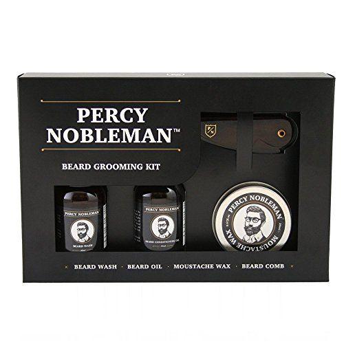 Kit Toilettage pour Barbe de Percy Nobleman. Une Huile, Un Nettoyant, Pour Barbe & Un Set De Cire Et Un Peigne Pour Hommes En Cadeau.