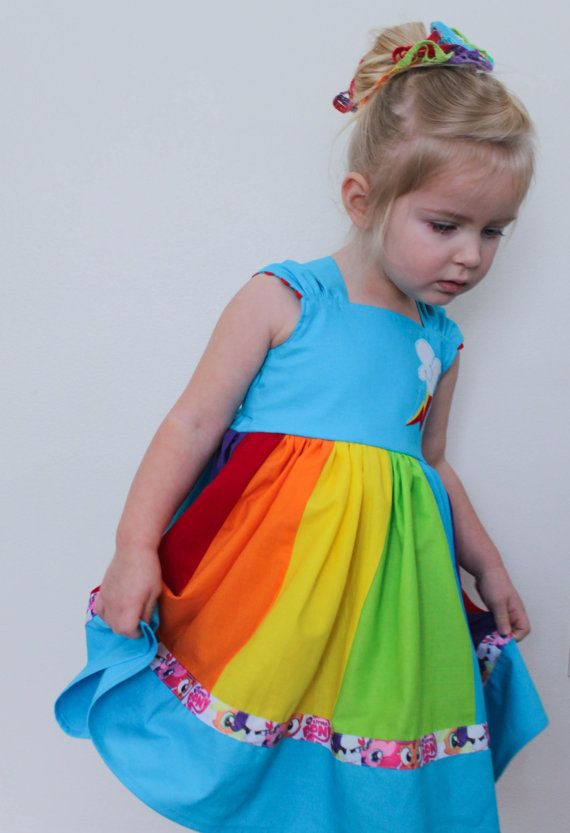 Rainbow Dash My Little Pony MLP Inspired Cap Sleeve Dress