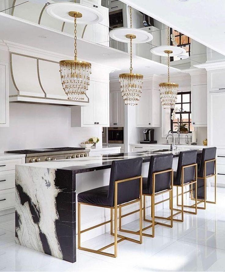 Black White Gold Kitchen Glam Luxury Kitchen Design Modern
