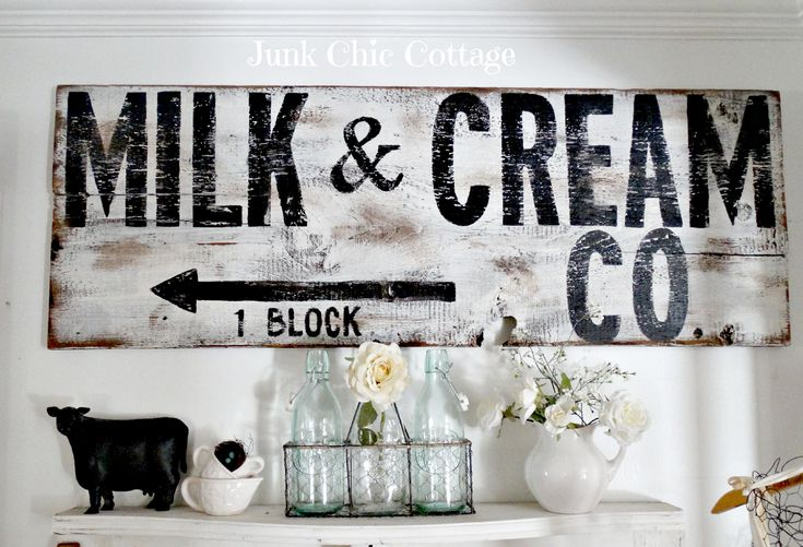 Junk Chic Cottage Milk And Cream Company Signs