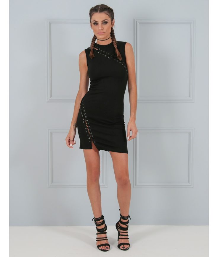 Looking for a little black dress with a point of difference? Look no further than our Morgan dress. This black bodycon dress is fitted to perfection and features a stunning crossover lace design with eyelets. Wear this black dress on your next evening out and youメre guaranteed to make heads turn.