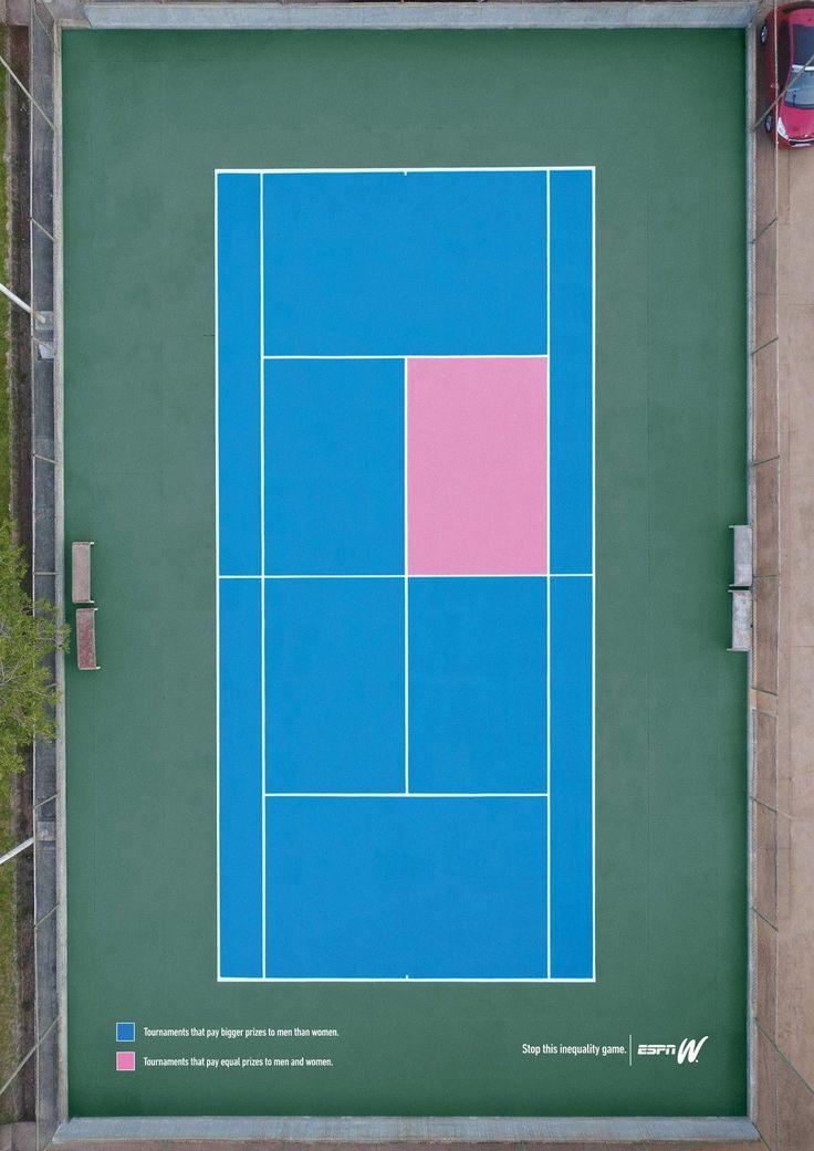 Campaña de #ESPNW para denunciar la desigualdad entre hombres y mujeres en el #deporte. ¿Cómo han actuado? pintando estas canchas de #futbol sala, #baloncesto y #tenis ⛹️♀️