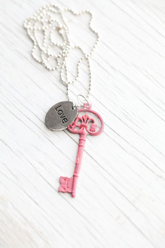 Dark pink Key pendant  Love  Ball chain  Hand by WhiteLilyDesign