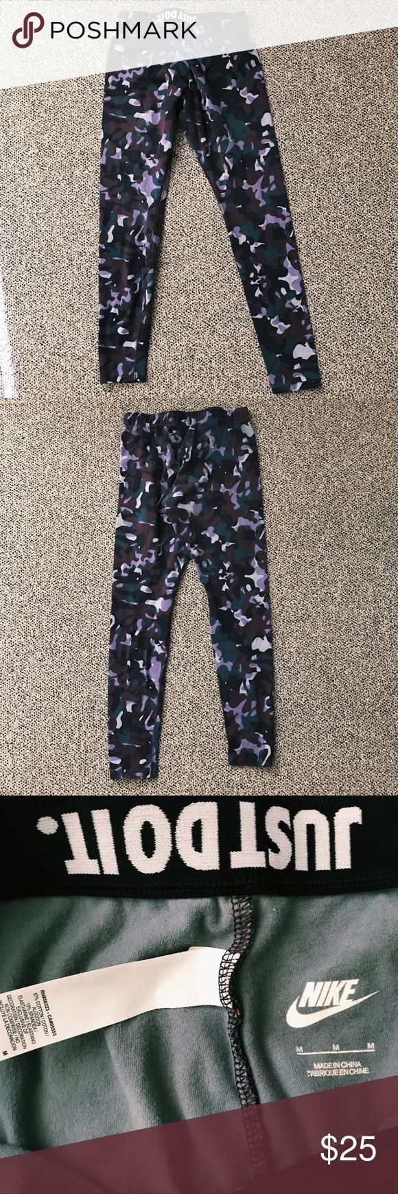 Camo Nike leggings Purple/dark green/black camouflage Nike leggings! Good condition. These are great to work out in and super comfortable if you just want to wear them out. I usually wear a large size but these still fit well even though they are mediums, so if you're a medium or a large these will fit perfectly. Cotton material Nike Pants Leggings
