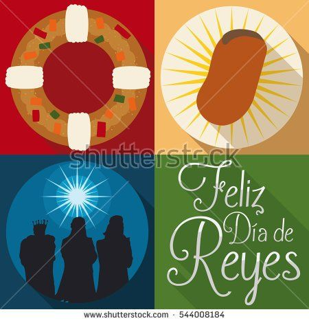 "Poster in flat style with traditional elements and characters for Spanish ""Dia de Reyes"" or Epiphany celebration: Magi characters, tortell and fava bean."