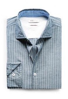 Рубашка Mango Man, цвет: синий. Артикул: HE002EMDBG82. Мужская одежда / Рубашки / Рубашки с длинным рукавом