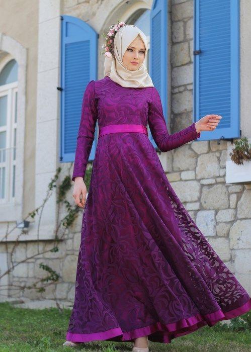 T 2285 Nisa Organize Dantel Abiye Elbise - FUŞYA - Trend Tesettür