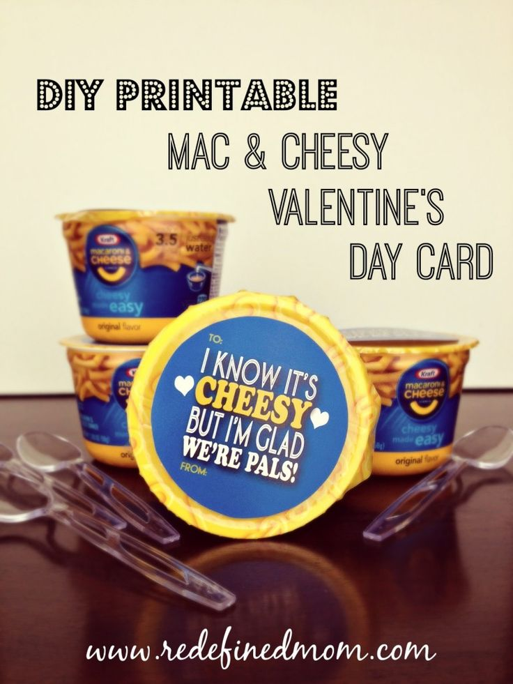 DIY Printable Mac & Cheesy Valentine's Day Card - RedefinedMom.com (Awesome for a teen who may be a little too cool for regular valentines.)