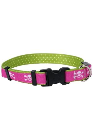 Orion Pink Skulls  LED 🐶  Dog Collar - Free Shipping @ $50  - LED lit adjustable buckle collar - Pink with white skull & crossbones  - 3 modes - fast, slow & constant on - USB rechargable #LEDcollars #halloween #pinkskulls