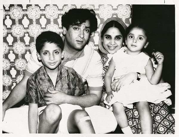 "once-upon-a-time-in-bollywood: "" Shammi Kapoor and Geeta Bali with their children Aditya Raj Kapoor and Kanchan Desai. """