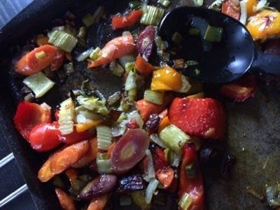 These Girls Love Food: Roasted Veggies - a super easy and yummy tray of roasted vegetables with brown rice. #yummy!