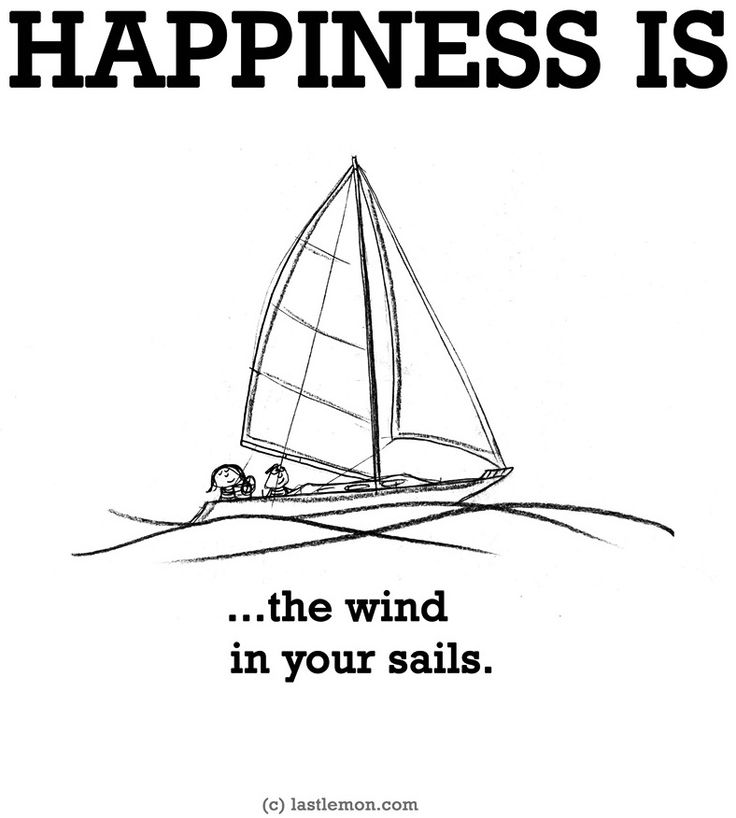 """""""Happiness is...the wind in your sails"""" quote via www.LastLemon.com"""