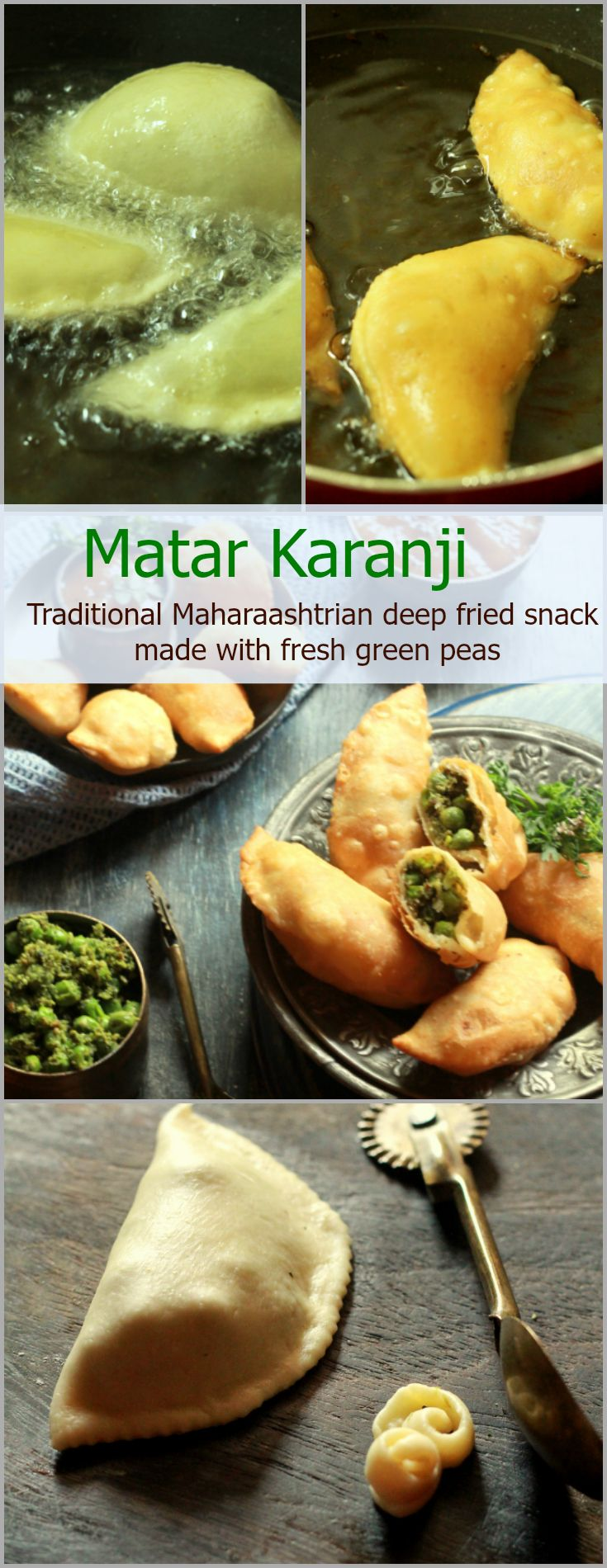 Indulgent Maharashtrian snack made using seasonal fresh green peas. Green peas and fresh coconut along with a few other spices are stuffed in a crisp flour pastry/cover and then deep fried till golden brown.