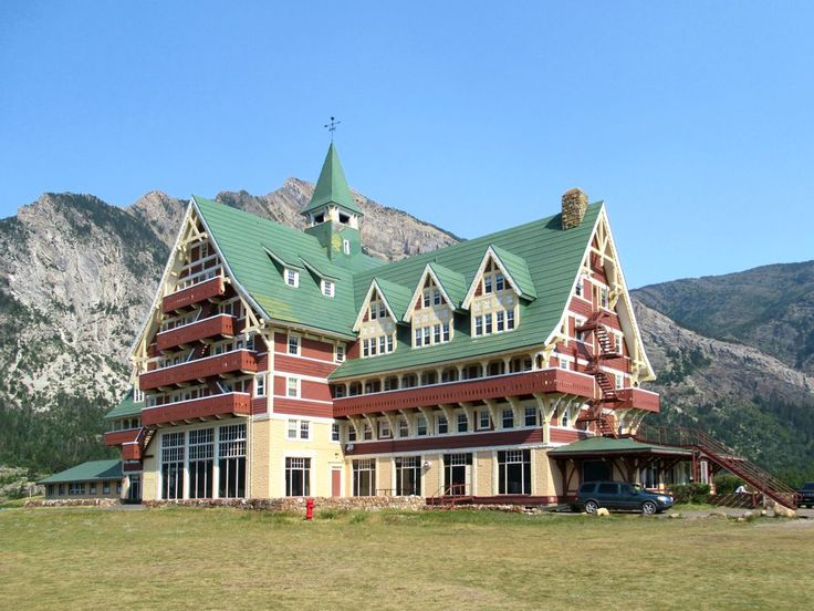 The Prince of Wales Hotel on a bluff at Waterton in Waterton Lakes National Park, Alberta, Canada, was erected in 1927.