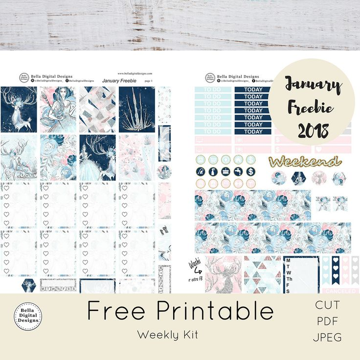 Free Printable January Planner Stickers - belladigitaldesigns