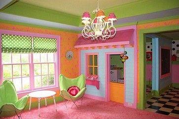 Adorable girls playroom.  Built-in Dollhouse Closet. Fun, bright colors!