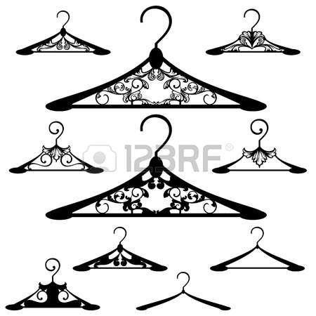 askı: lüks askı tasarım kümesi - siyah ve beyaz vektör anahatları ve siluet koleksiyonu Çizim