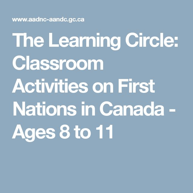 The Learning Circle: Classroom Activities on First Nations in Canada - Ages 8 to 11