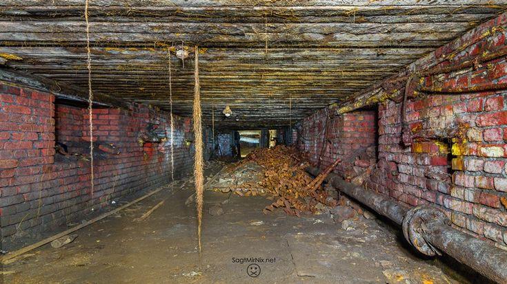 Tief unter der Erde wachsen Luftwurzeln aus der Stollendecke.  Verlassene Orte NRW: Ein unterirdischer Lost Place in Bochum - ein Ort mit über 150 Jahren Industriegeschichte. Ruhrgebiet unterm Brennglas.