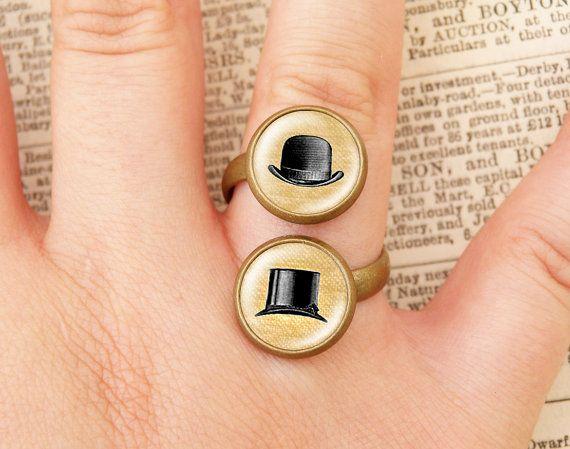Cappelli vittoriani doppio anello di wiccanstyle su Etsy