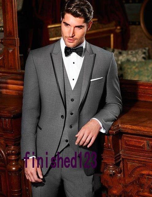 Новое поступление одна кнопка нью-серый жених смокинги жениха мужские свадебные костюмы вечернее платье ( куртка + брюки + жилет + галстук ) нет : 136