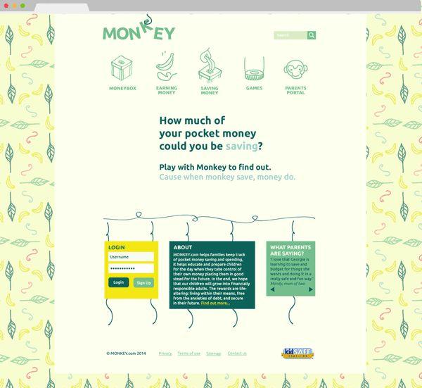 Monkey.com - Pocket Money Website by Lua Cortes, via Behance - ui, logo, pattern, character, web, website, icons, design