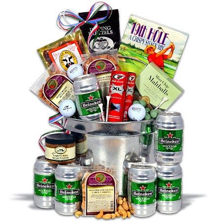 Gift Basket for Golf Tournament Raffle- not beer, but like the idea behind a snack basket.